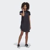 J-adidas RYV DRESS 女裝 短袖 長版 洋裝 休閒 側邊拉繩 抓皺 純棉 雙標 黑 GJ6578