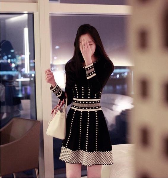 小香風洋裝 春秋新款女裝遮肚子冬季連衣裙女加厚針織秋冬款打底裙 - 古梵希