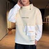 男士秋季長袖T恤2020新款韓版潮流高領上衣學生寬鬆休閒潮牌連帽T恤-Ifashion