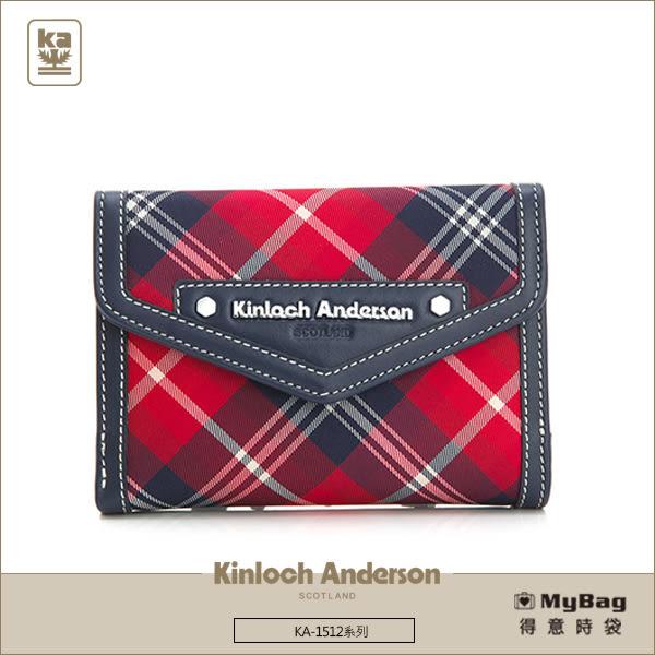 Kinloch Anderson 金安德森 皮夾 英式學院 紅/藍 經典格紋布中夾 KA151205 MyBag得意時袋