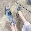 中跟鞋 細跟穆勒鞋女新款2020夏季韓版時尚外穿水鉆高跟涼拖尖頭半拖鞋女