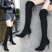 一件免運-2019秋冬新款正韓尖頭長筒靴細跟過膝彈力靴顯瘦綁帶騎士長靴子女