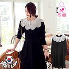 【愛天使孕婦裝】正韓國空運(63500)後磨毛棉 花瓣領顯瘦哺乳衣洋裝 孕婦裝