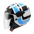 【東門城】ZEUS ZS213 AX5(白藍) 半罩式安全帽 雙鏡片