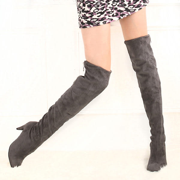 【Deluxe】韓版顯瘦-柔軟彈力布性感過膝長靴(灰)