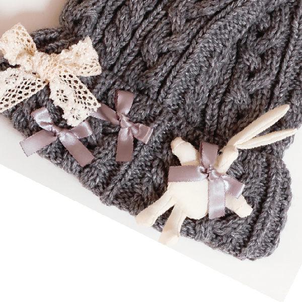 ★美國MAELI ROSE★可愛兔兔帽  尖尖毛線帽 手工針織帽 童帽 親子帽 _9X16  Free size