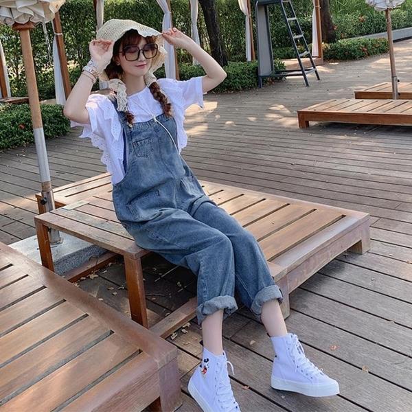 吊帶褲 洋氣減齡套裝牛仔吊帶褲女2021年新款韓版寬鬆春秋網紅直筒連身褲