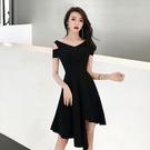 禮服 2021新款法式女裝性感露肩氣質黑色小禮服不規則中長款洋裝女夏