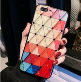 iPhone 8 Plus 彩色立體菱格 手機殼 滴膠閃粉 防摔套 全包邊保護套 保護殼 手機套 iPhone8