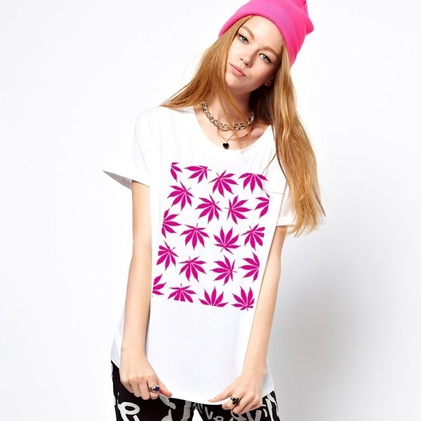 Cannabis Leaf-pink短袖T恤-2色 大麻huf obey dope 風格滑板潮t