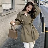 風衣大衣-短版寬鬆翻領百搭高腰女外套73yt52【巴黎精品】