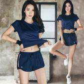 韓國健身服女夏季性感瑜伽服寬鬆網紗速干跑步健身房運動套裝      伊芙莎