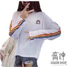 EASON SHOP(GU8813)實拍側邊百搭彩虹條紋LOGO刺繡圓領長袖T恤女上衣服落肩寬鬆顯瘦內搭衫短版棉T