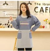 韓版時尚長袖純棉女罩衣成人可愛反穿衣帶袖圍裙廚房做飯圍裙