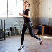 瑜伽服夏季健身房運動服女胖mm大尺碼瑜伽跑步速幹衣短髮假髮件褲套裝 1件免運