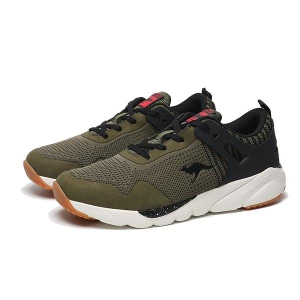 KANGAROOS 休閒鞋 RUN BURST 軍綠 針織 輕量 緩震 慢跑 男 (布魯克林) KM91105