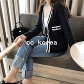 時尚撞色小香風針織外套 CC KOREA ~ Q17767