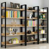 鋼木書架簡易鐵藝貨架墻上多層置物架客廳架子展示架書櫃定做 小明同學 NMS
