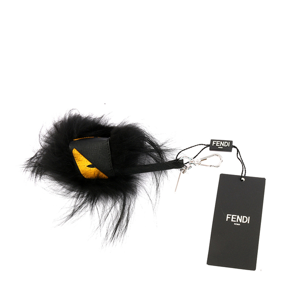 【FENDI】MONSTER狐狸毛/毛怪/魔魔黃眼睛吊飾KEY圈(黑)7AR386 X4Q F0WAD