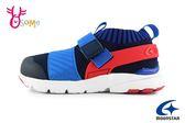 Moonstar 月星 HI系列 日本機能鞋 中童 襪套式魔鬼氈 運動鞋 慢跑鞋 I9625#紅藍◆OSOME奧森童鞋