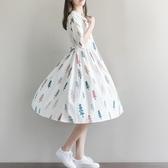 漂亮小媽咪 童趣洋裝 【D7981】 娃娃領 聖誕樹 五分袖 棉麻 加大 寬鬆洋裝 落肩 孕婦裝 孕婦裙