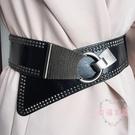 女士斜搭寬腰封黑時尚鉚釘朋克風百搭寬皮帶配連衣裙裝飾腰帶腰封