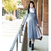 秋冬7折[H2O]附腰帶立褶裙合身毛線洋裝 - 黑/粉/淺藍色 #0630005