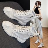 網紗馬丁靴女 夏季薄款透氣 百搭涼鞋鏤空短靴英倫靴子 快速出貨