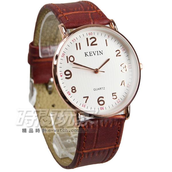 KEVIN 數字時刻簡約時尚腕錶 防水手錶 皮革錶帶 男錶/中性錶/女錶 都適合 咖啡x玫瑰金 KV3068咖大