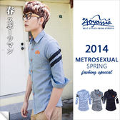 襯衫【G20286】手臂條紋織帶拼接皮標口袋設計5分袖襯衫(3色)