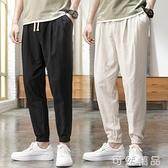 亞麻褲男純色夏季薄款休閒褲麻料褲子大碼寬鬆棉麻長褲鬆緊腰男褲 可然精品