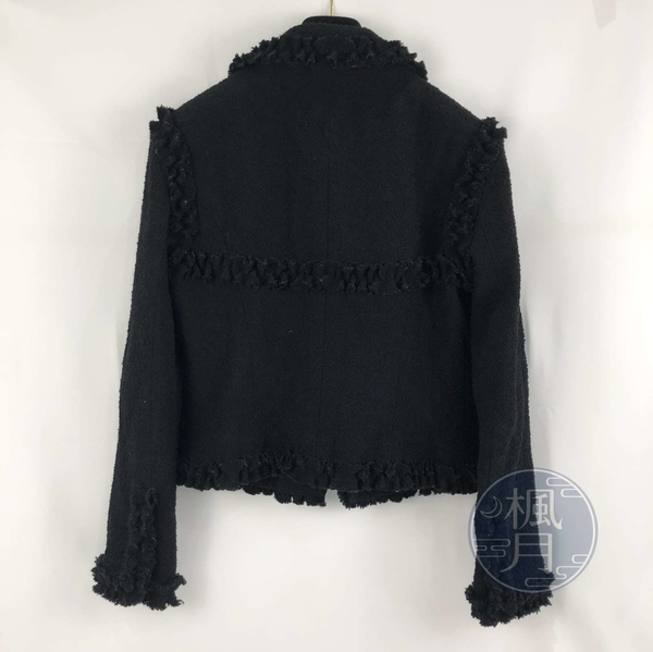 BRAND楓月 CHANEL 香奈兒 黑色 全黑 荷葉邊 花邊 毛呢外套 西裝外套 品牌服飾 #40