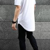 《澤米》新款下擺圓弧短T 歐美潮牌高街ulzzangT桖 夏季最新男素色長版棉T 男女寬鬆打底衫潮T