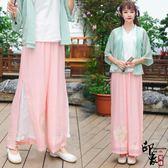 漢服古裝原創漢元素中國風日常改良漢服女繡花開衫無袖內搭繡花宋褲款 超值價