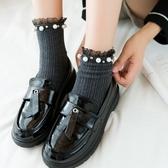 襪子女中筒襪韓版長襪日繫珍珠花邊襪堆堆襪秋冬款潮棉襪