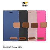 XMART SAMSUNG Galaxy A40s 斜紋休閒皮套 磁扣 側翻 可插卡 保護套 手機套