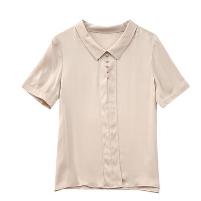 L-4XL胖妹妹大碼短袖雪紡衫~重磅真絲襯衫女士短袖杭州絲綢上衣小衫寬松桑蠶絲襯衣NA46D莎菲娜
