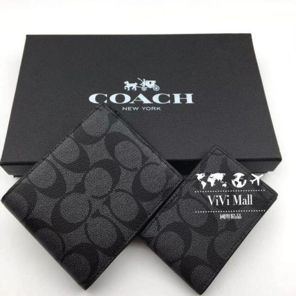 『Marc Jacobs旗艦店』COACH正品實拍美國代購COACH74993C字LOGO防刮皮革男士短夾證件夾鎖匙扣
