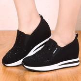 春秋款老北京布鞋內增高女鞋厚底坡跟水鉆休閒女單鞋樂福鞋鬆糕鞋 伊衫風尚