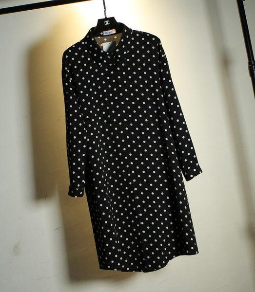 (全館免運)DE SHOP~韓 點點長款長袖襯衫 (XA-829)