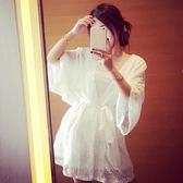 小香風俏皮套裝女兩件套夏季韓版打底吊帶裙 中長款蕾絲開衫外套