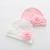 木耳邊紗花棉感嬰兒帽 嬰兒帽 胎帽 新生兒帽