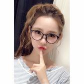 現貨-眼鏡框潮人男女式大黑色圓形眼鏡架平光鏡鏡架有鏡片大臉潮復古大方框裝飾眼睛眼鏡框架1