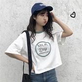 T恤 港風超火cec短袖t恤女韓版學生森系洋氣短款原宿bf寬鬆上衣潮
