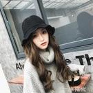 漁夫帽女士秋冬韓版百搭毛線假發帽子一體時尚潮針織盆帽羊毛英倫 一米陽光