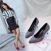 大尺碼女鞋41-43春夏款新品肥腳40 41 42 43尖頭高跟鞋淺口單鞋 快速出貨