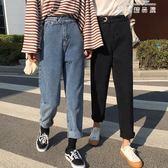 春季女裝韓版新款百搭寬鬆水洗直筒九分褲學生高腰牛仔褲 麥琪精品屋