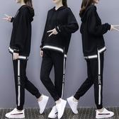 微購【A4598】條紋運動風連帽上衣+縮口褲 套裝 L-4XL