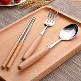 櫸木柄304不鏽鋼餐具三件組 環保餐具 JM1146