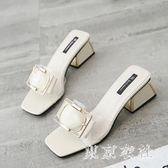 高跟拖鞋女夏2018新款時尚粗跟透明涼拖女外穿白色拖鞋子 EY3813 『東京衣社』